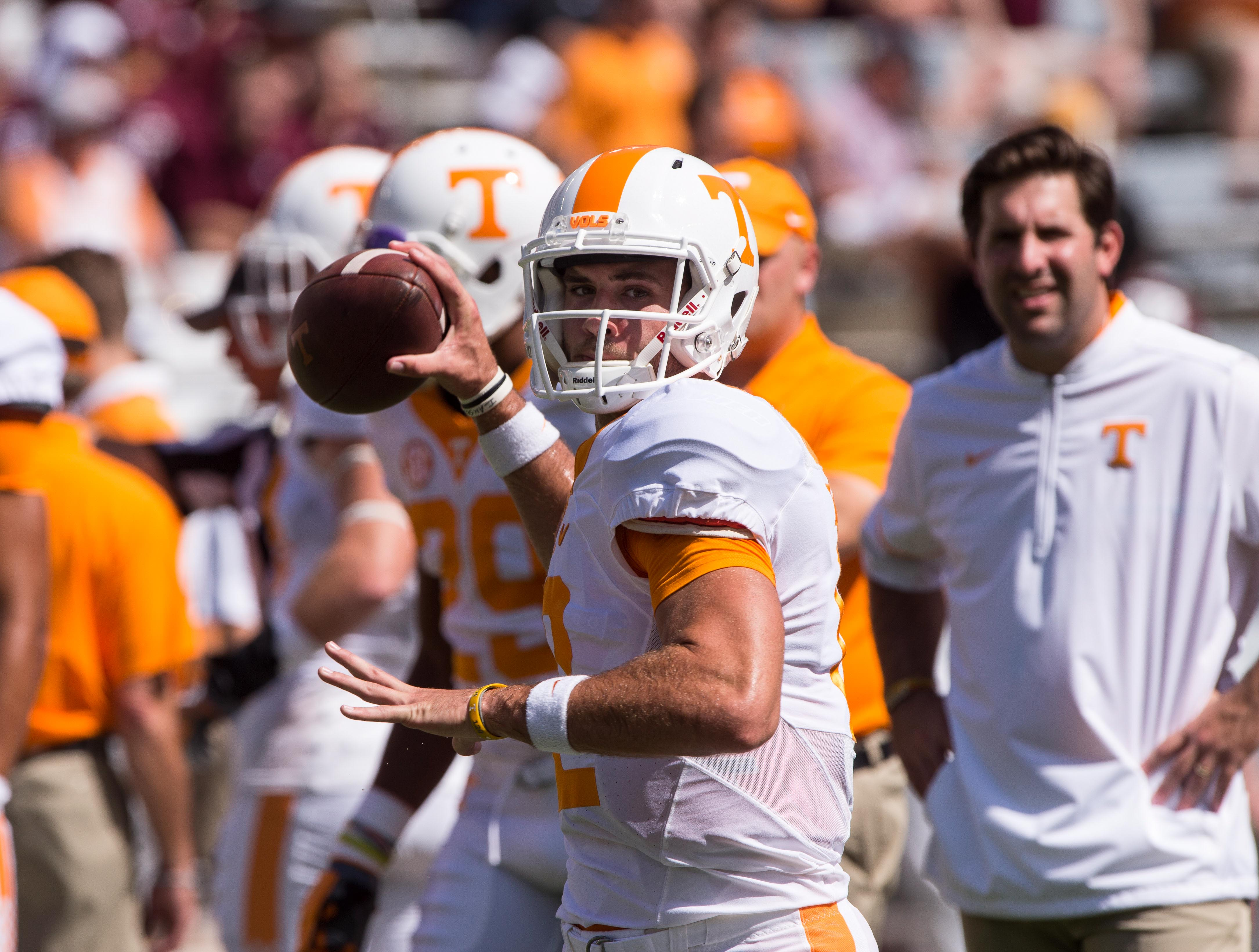 Oct 8 2016 College Station Tx Usa Tennessee Volunteers Quarterback Quinten Dormady 12 Warms Up Before The Against Texas A M Aggies At Kyle